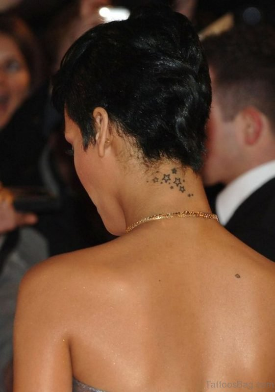 Nice Stars Neck Tattoo