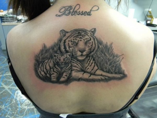Nice Tiger Tattoo On Back