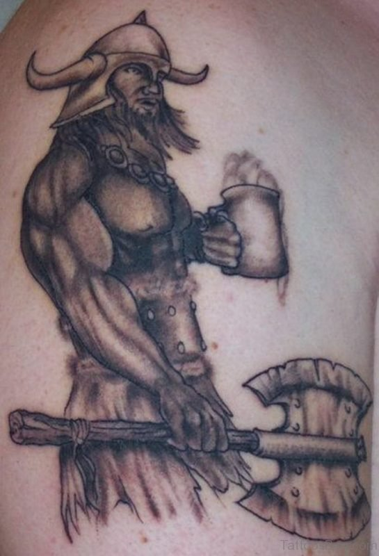 Nice Viking Shoulder Tattoo Design