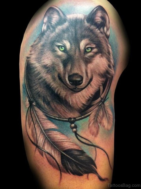 Nice Wolf Dream Catcher Tattoo