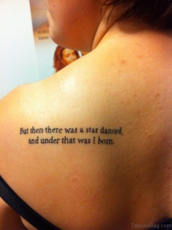 Nice Wording Tattoo On Back