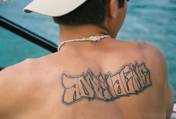 Old English  Tattoo On Upper Back