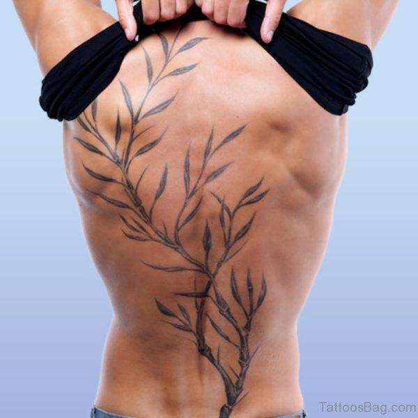 Olive Leaves Tattoo On Back