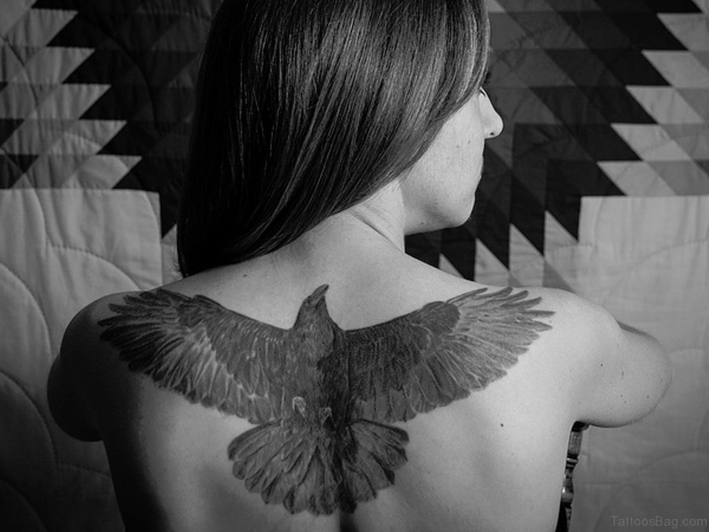 5a955fd2f Open Wings Crow Tattoo On Upper Back