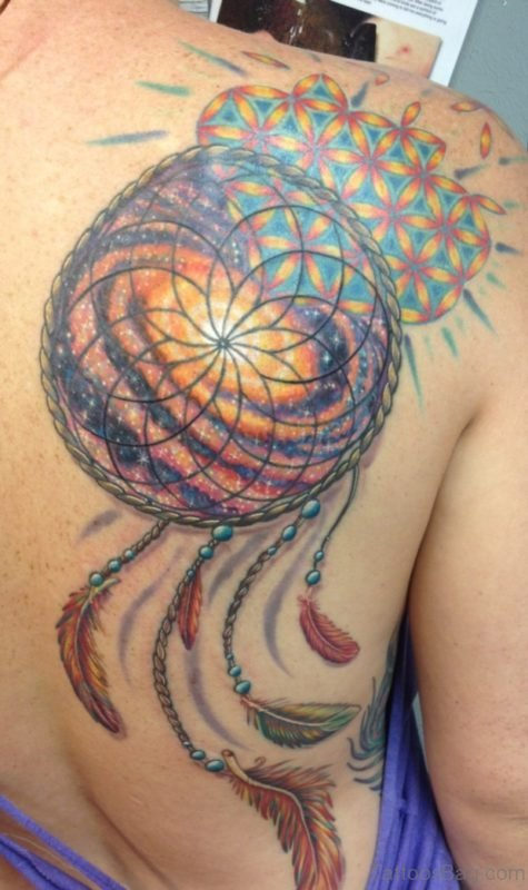 Orange And Red Dream Catcher Tattoo