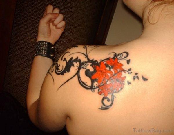 Orange Flower Shoulder Tattoo