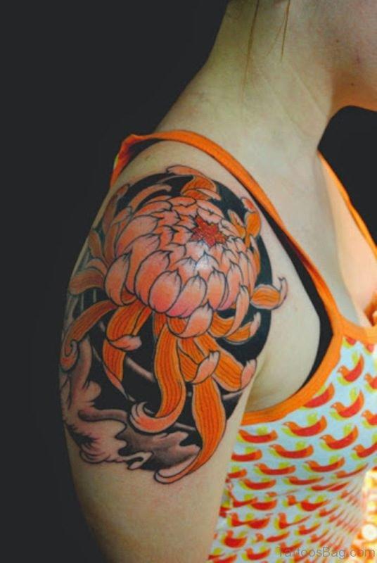 Orange Flower Tattoo For Women