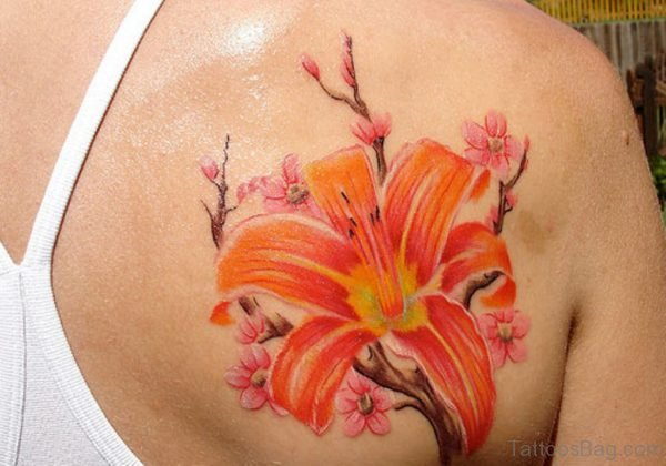 Orange Hibiscus Flower Tattoo
