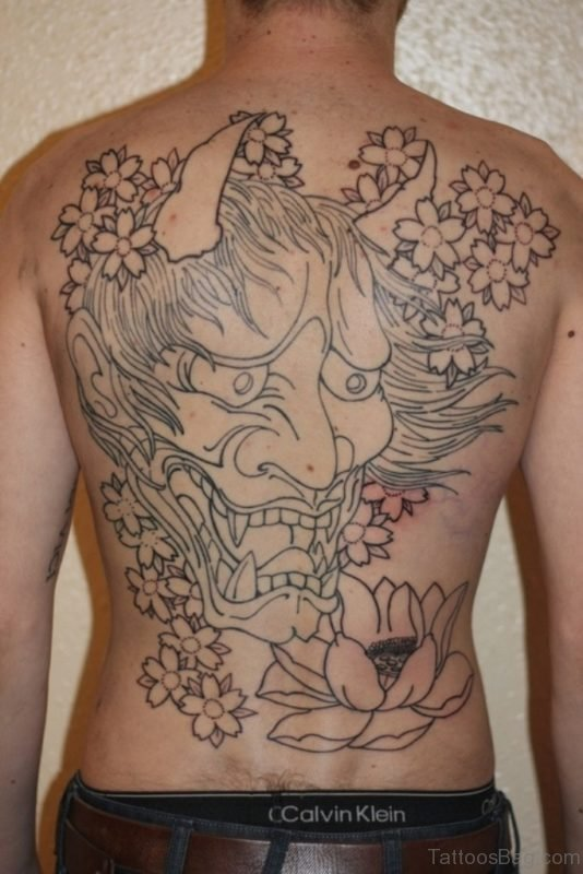 Outline Asian Hannay Mask And Lotus Tattoo On Back