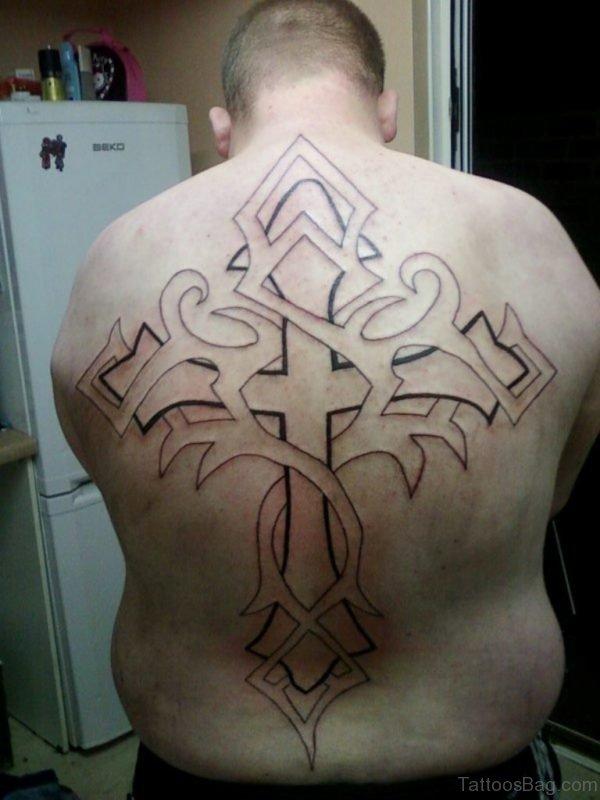 Outline  Cross Tattoo Design