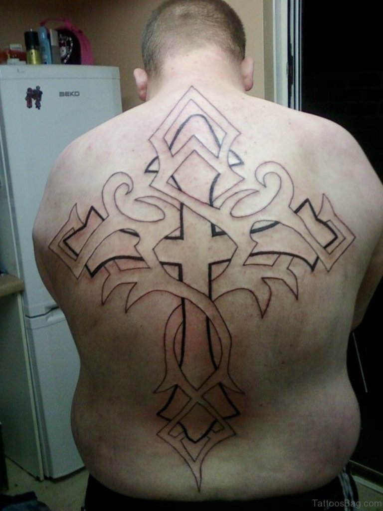 44 cross tattoos on back