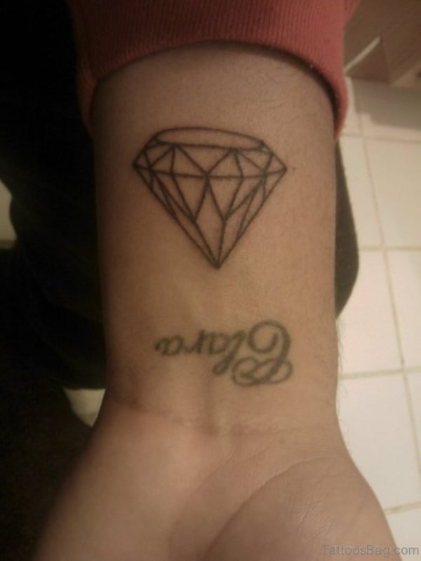 Outline Diamond Tattoo On Wrist