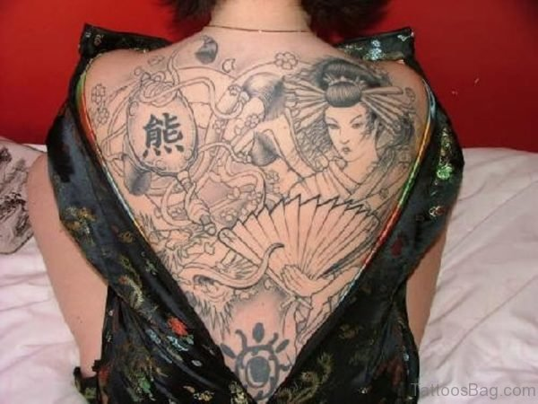Outline Geisha Girl Tattoo