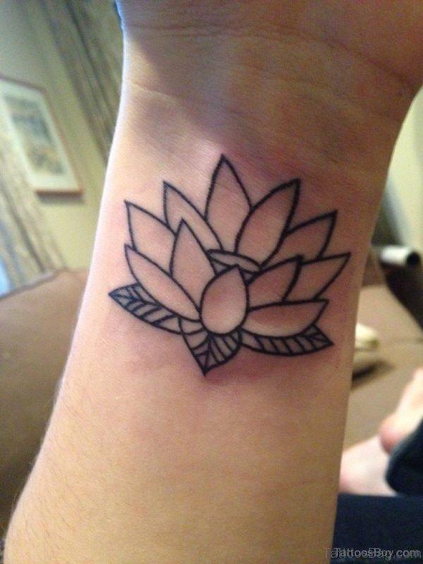 Outline Lotus Tattoo On Wrist