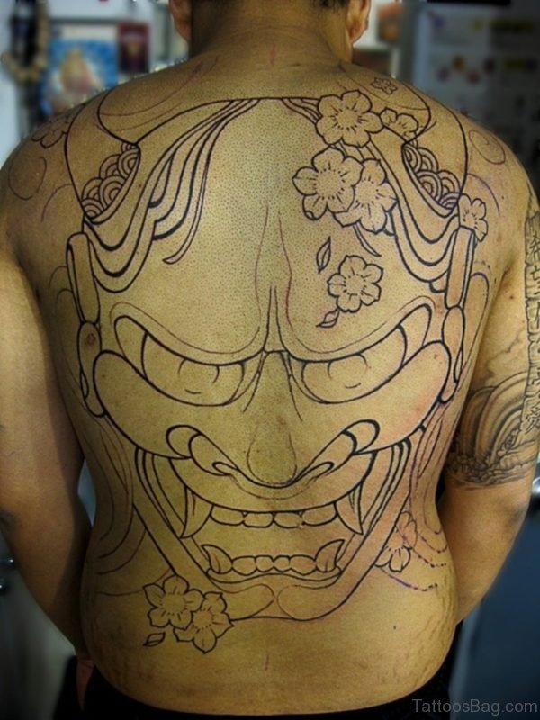 Outline Mask Tattoo