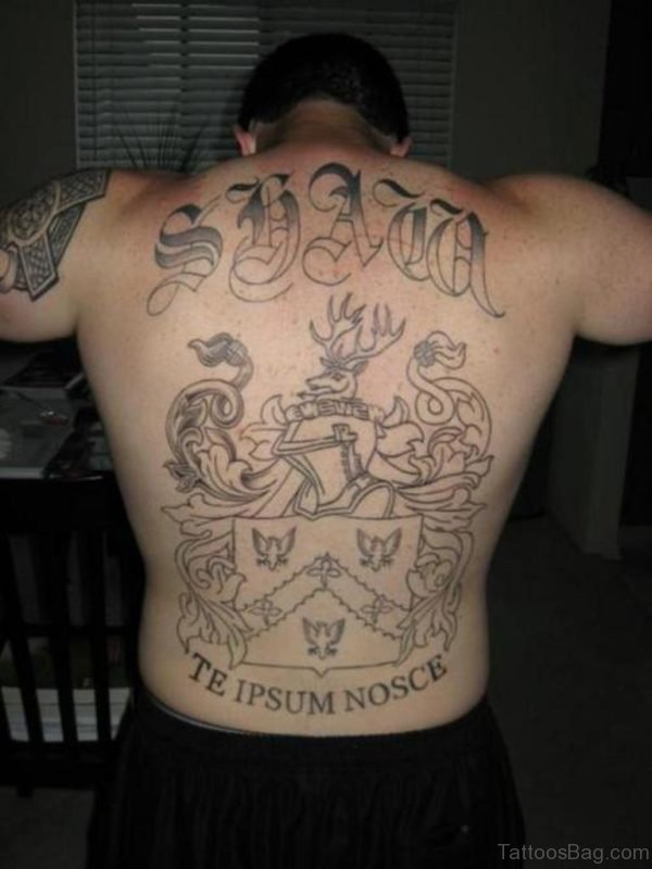 Outline Name Tattoo On Back