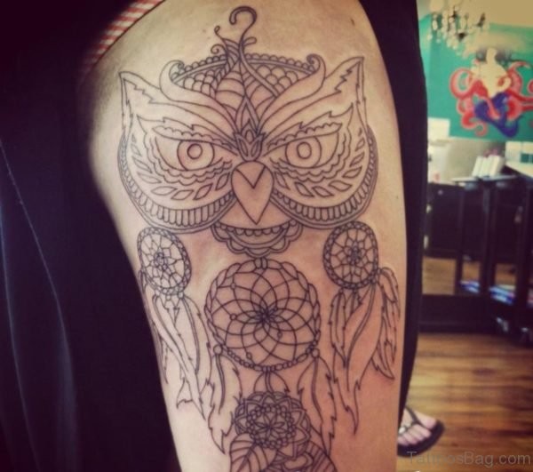 Outline Owl Tattoo