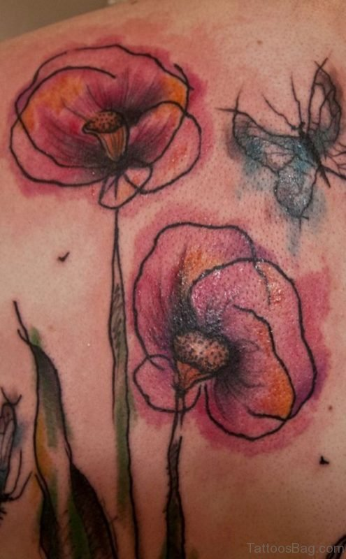 Outline Poppy Flower Tattoo