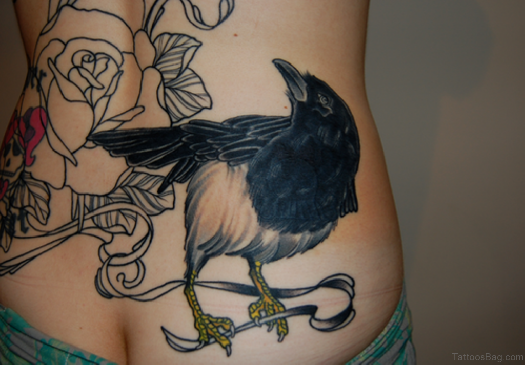 c6d762c3e Outline Rose And Crow Tattoos On Lower Back