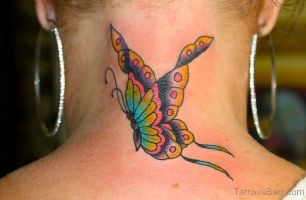 Outstanding Butterfly Tattoo On Neck