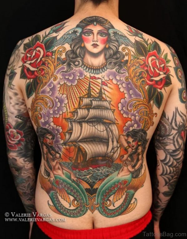 Outstanding Colored Ship Tattoo