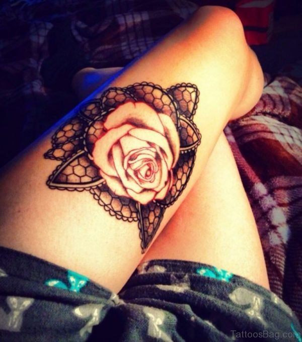 Outstanding Rose Tattoo For Thigh