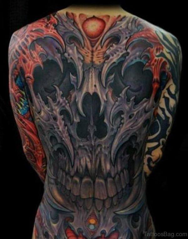Outstanding Skull Tattoo On Full Back