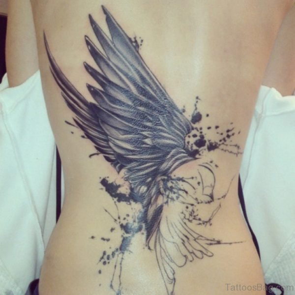 Outstanding Swallow Tattoo On Back