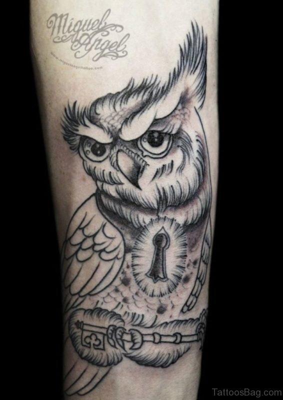 Owl And Key Tattoo