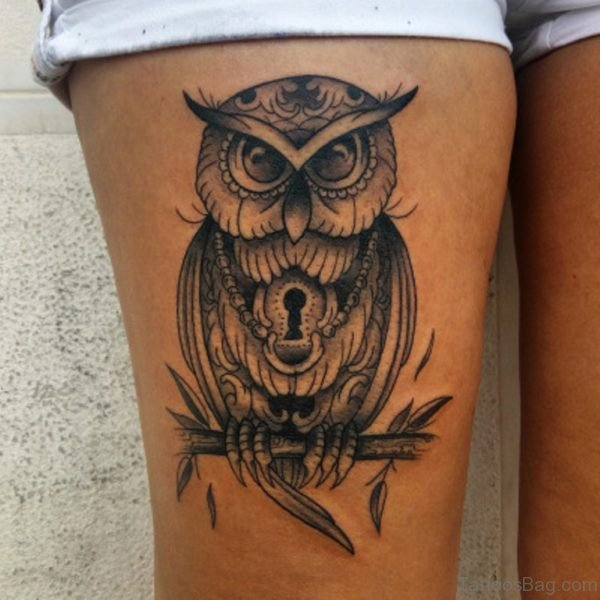 Owl And Lock Tattoo