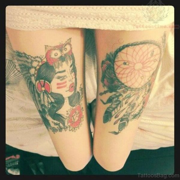 Owl And Pink Rose Flowers And Dreamcatcher Tattoo