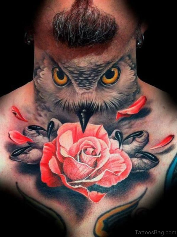 Owl And Rose Neck Tattoo