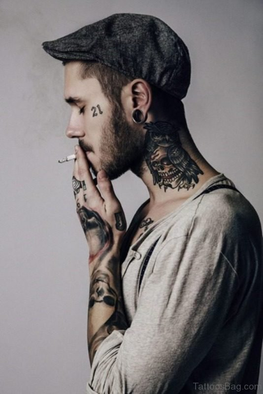 Outstanding Neck Tattoo For Men