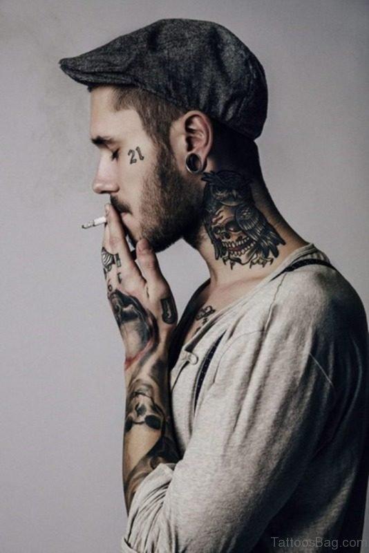 Outstanding Neck Tattoo For Men