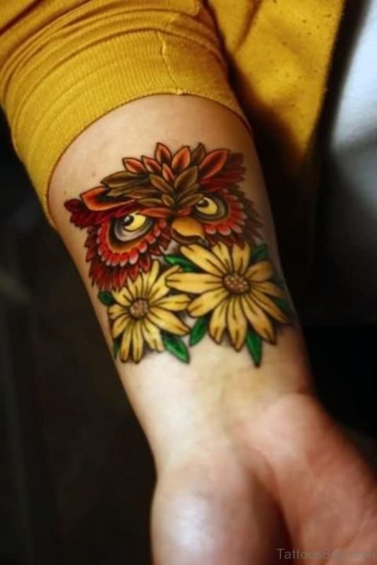 Owl And Sunflower Tattoo