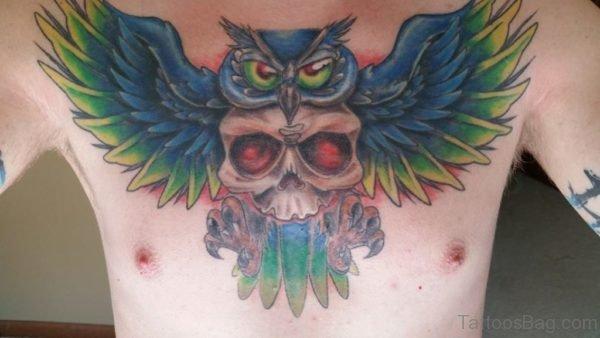 Owl Bird And Skull Tattoo
