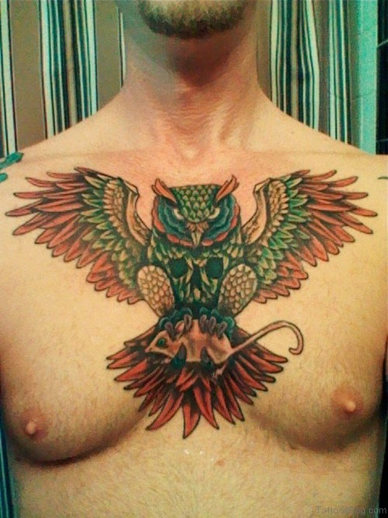 70 outstanding owl tattoos for chest. Black Bedroom Furniture Sets. Home Design Ideas