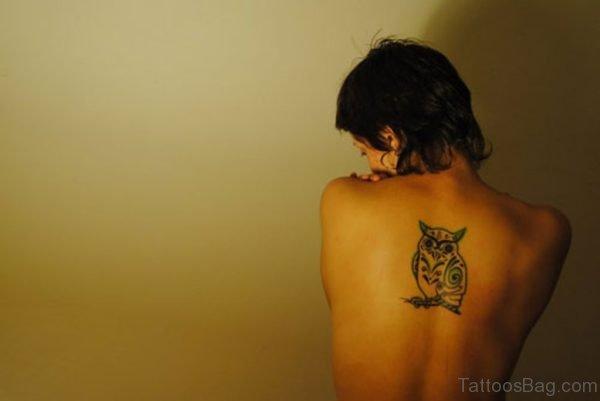 Owl Bird Tattoo On Back