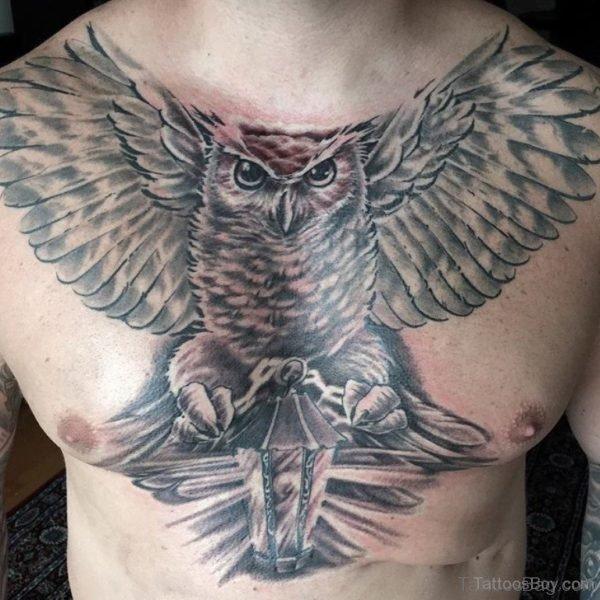Owl Bird Tattoo On Chest