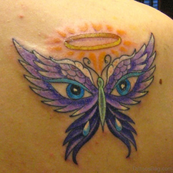 Owl Eyes And Butterfly Tattoo