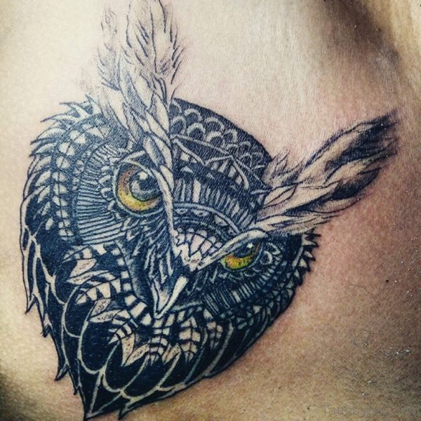 Owl Face Tattoo Design