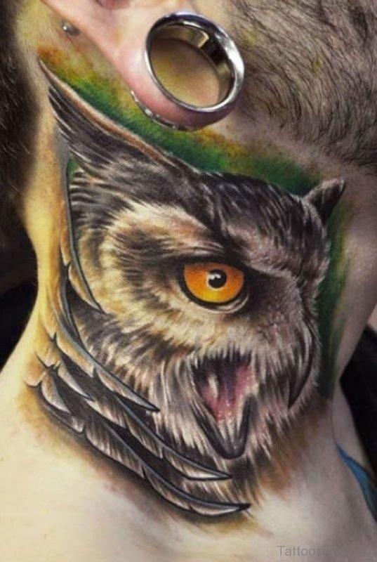 Owl Neck Tattoo For Men