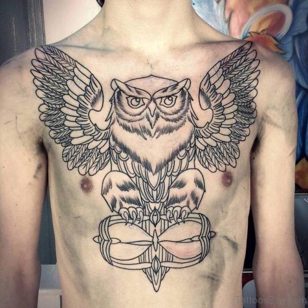 Owl Tattoo Across Chest