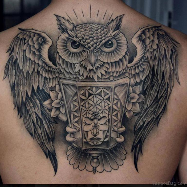 50 Glossy Owl Tattoos On Back