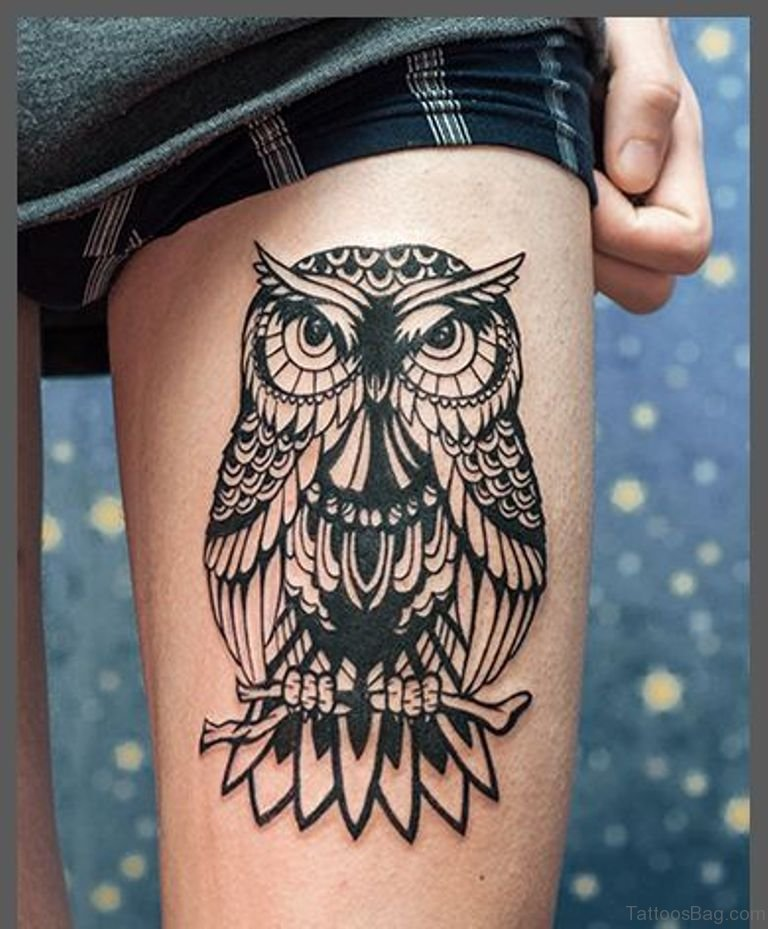 50 lovable owl tattoo on thigh for Owl tattoo designs