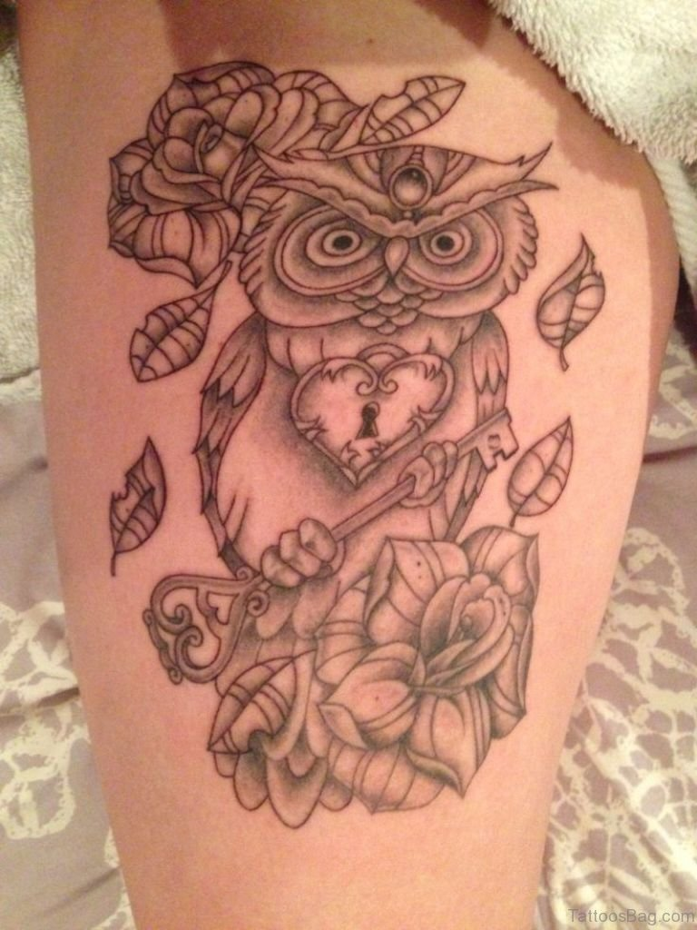 50 lovable owl tattoo on thigh. Black Bedroom Furniture Sets. Home Design Ideas