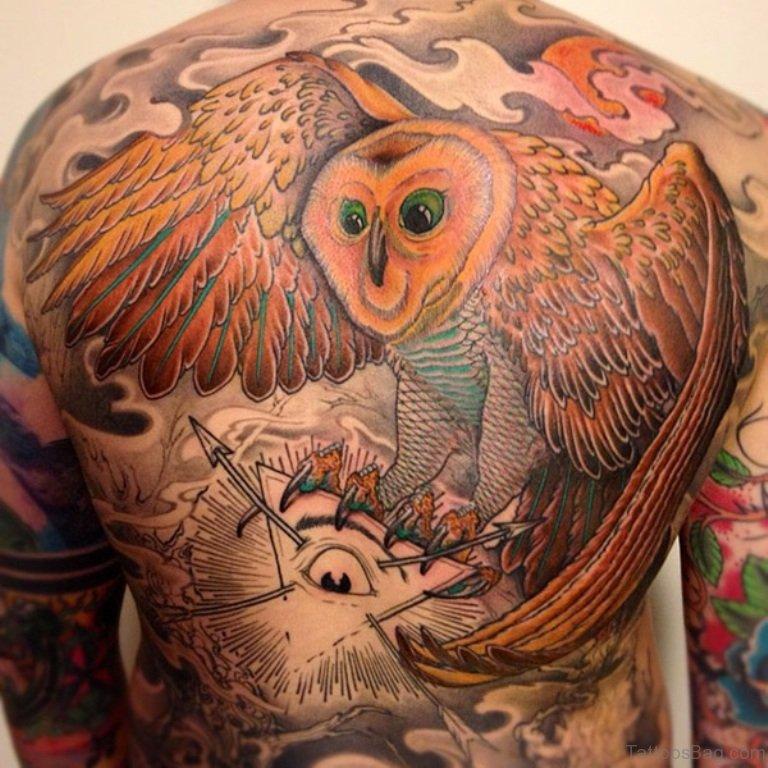 50 glossy owl tattoos on back. Black Bedroom Furniture Sets. Home Design Ideas
