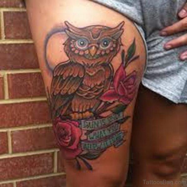 Owl Tattoo On Thigh