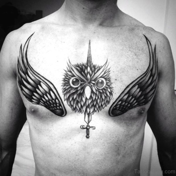 Owl Tattoo With Cross And Wings On Chest