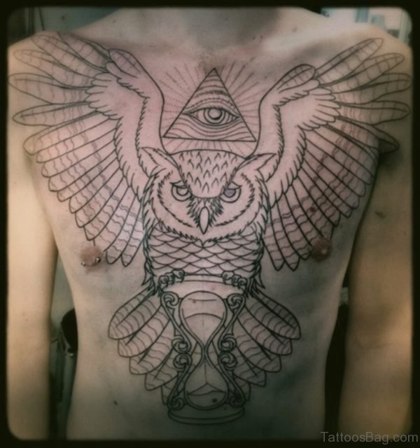 Owl With Clock Tattoo On Chest